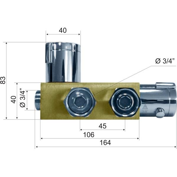 Cмеситель с термо регулировкой для подготовки теплой воды KR532 34D