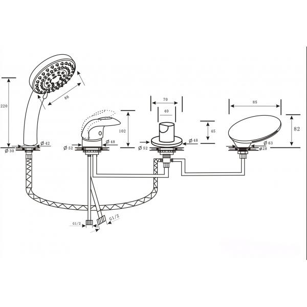 GRANADA ALPEN Врезной каскадный смеситель на 4 отверстия хром