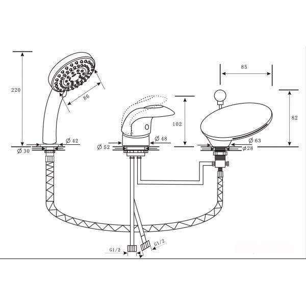 NIAGARA DELUX ALPEN Врезной каскадный смеситель на 3 отверстия бронза