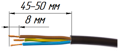 Снятие оболочки с силового кабеля