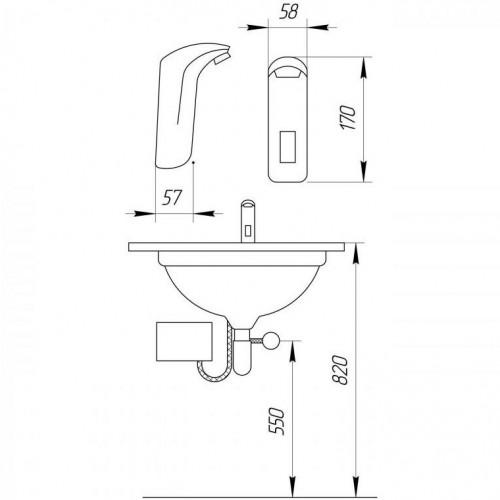 Размеры сенсорного смесителя Frap F511-1